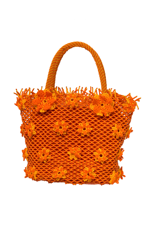 Cartera Flores de Chaquira, Naranja