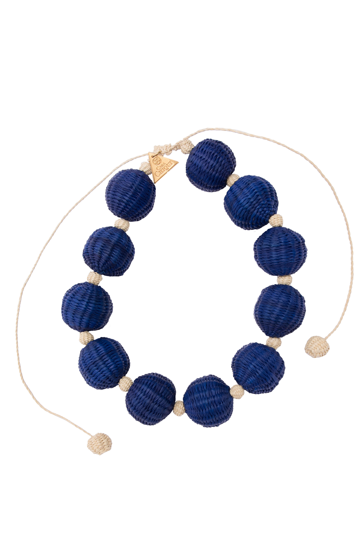Collar Corto Combinado Bolas De Iraca,Azul rey