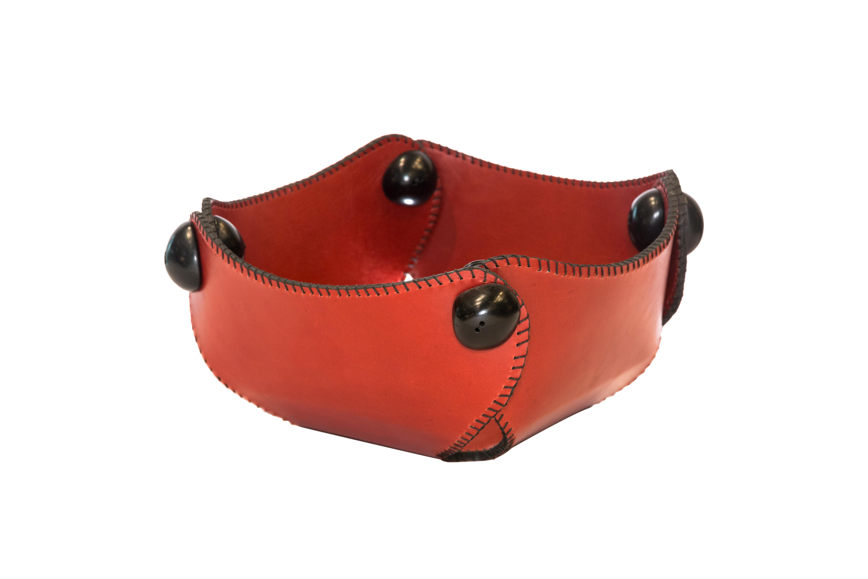 Leather table centerpiece