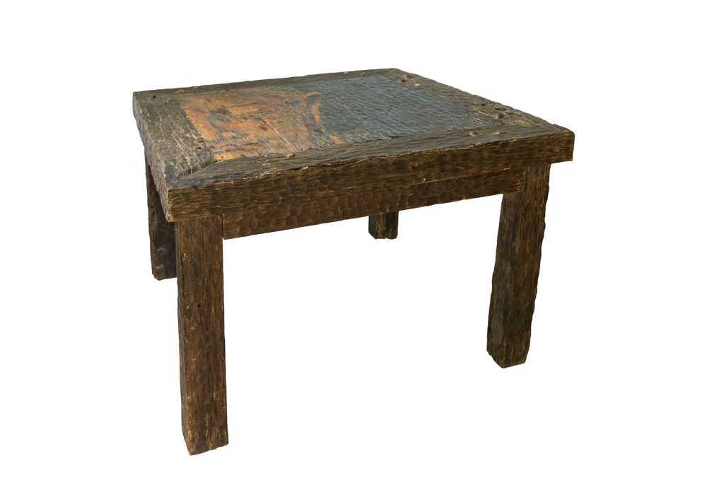Buddha-faced wood side table
