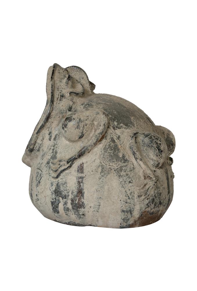 Linterna de jardín figura rana gris