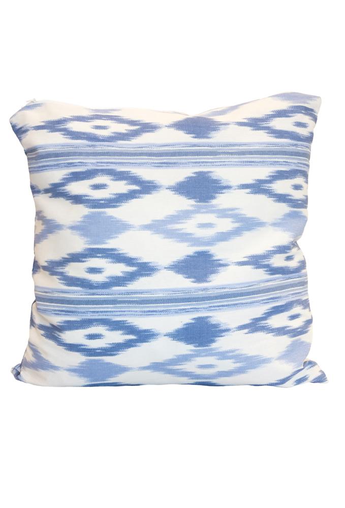Ikat cushion white-blue