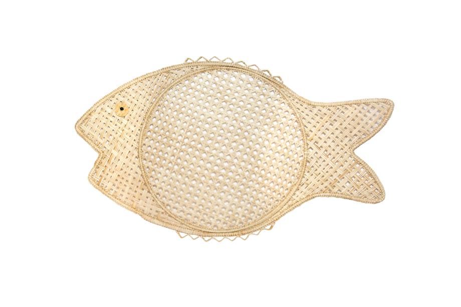 Iraca placemat fish motif
