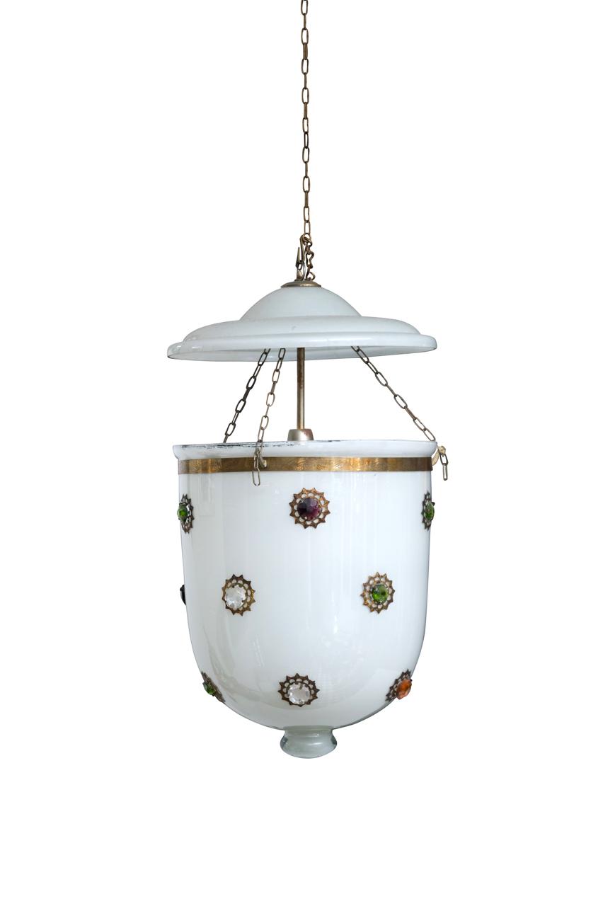 Lámpara de colgar Hundí vidrio blanco