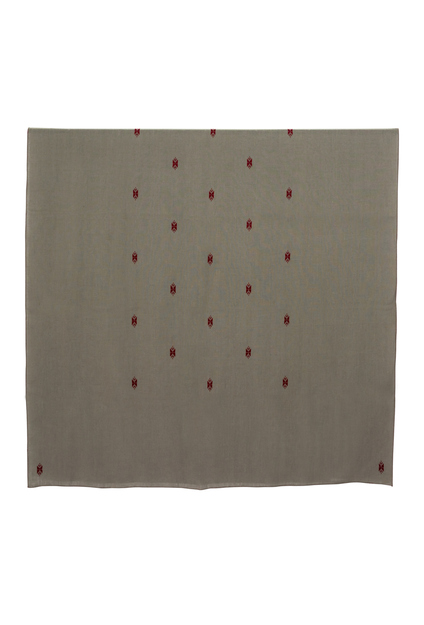 Linen tablecloth Moroccan loom grey embroidery