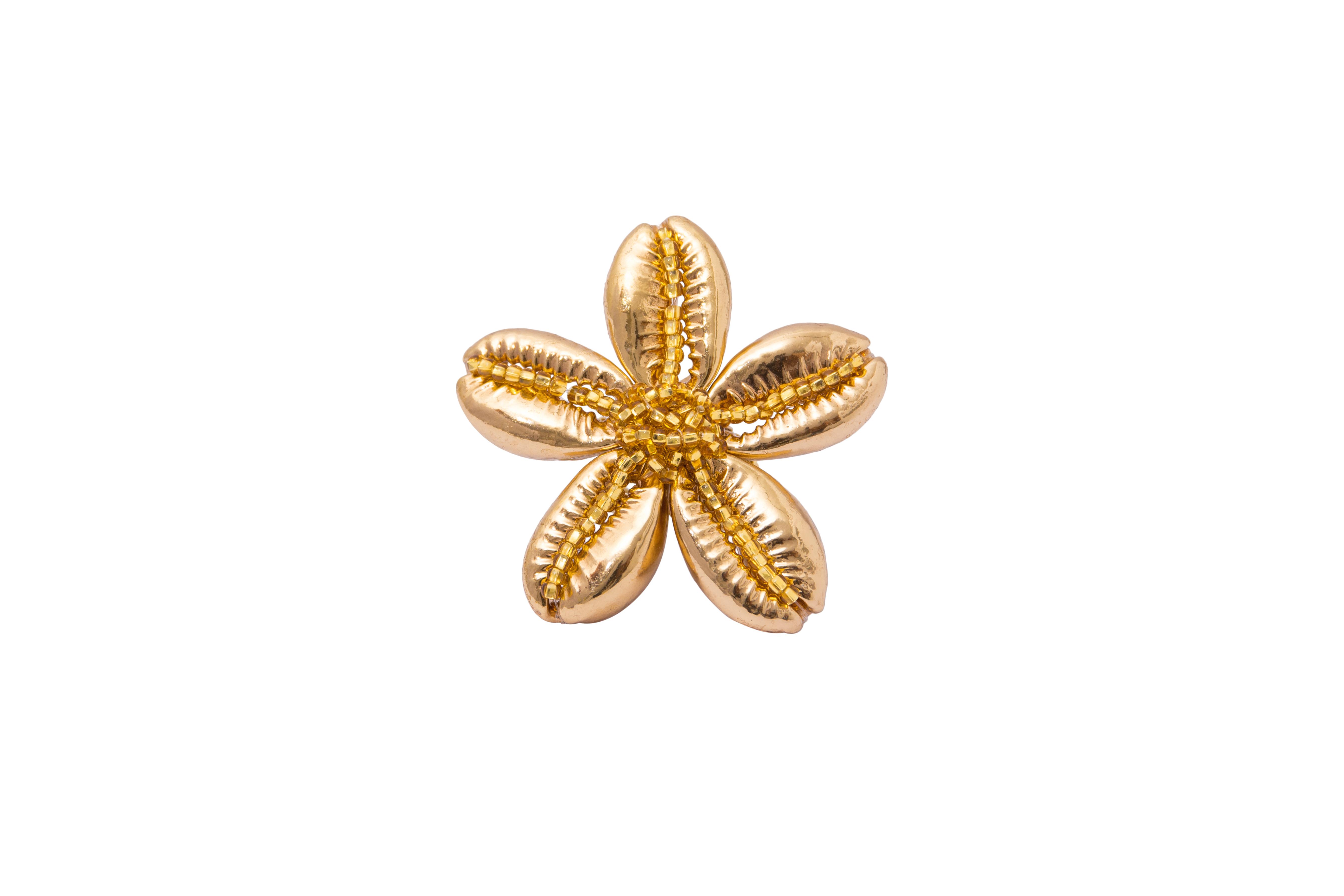 Anillo flor de caracoles dorados