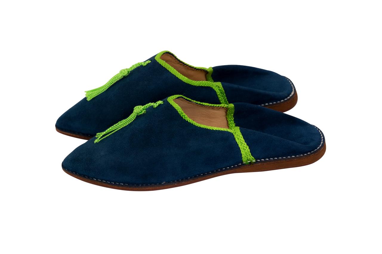 Babouches Marroqui Azul fleco verde