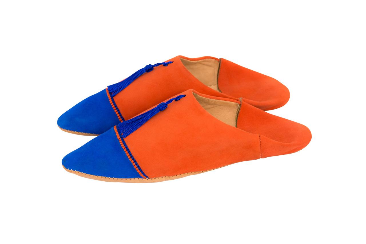 Babouches Marroqui Naranja punta azul rey