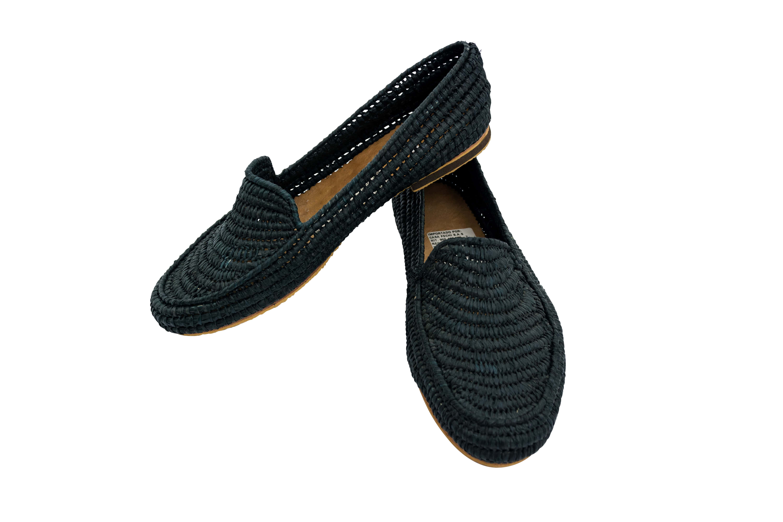 Zapatos Marroqui Raffia Negros