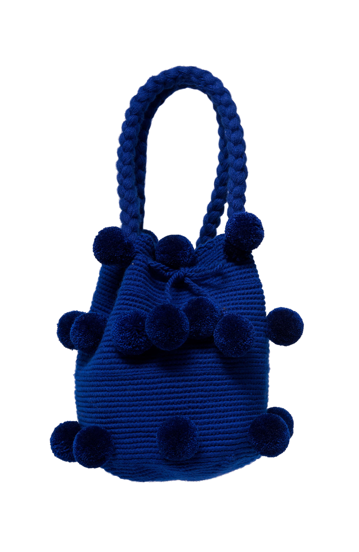 Mochiila 26 Pompones Azul Rey