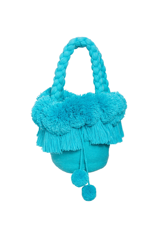 Mochila Flecos Y Pompones Azul Bebe
