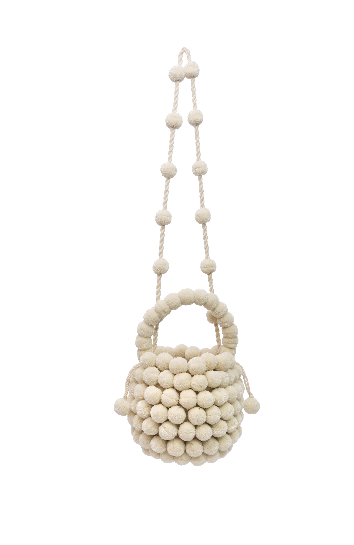 Mochila Multi-Pompom,Blanca
