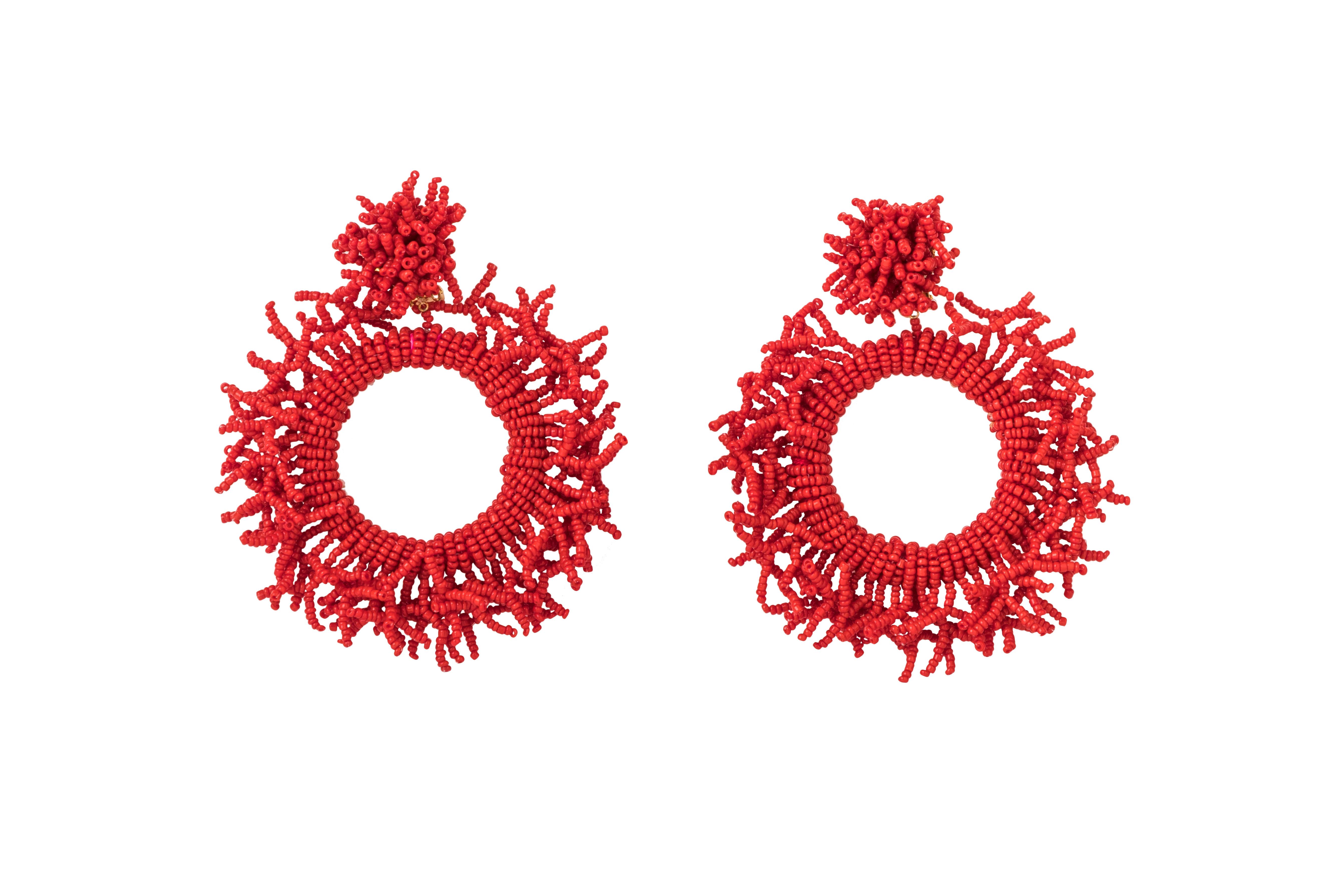 Arete Coral rojo