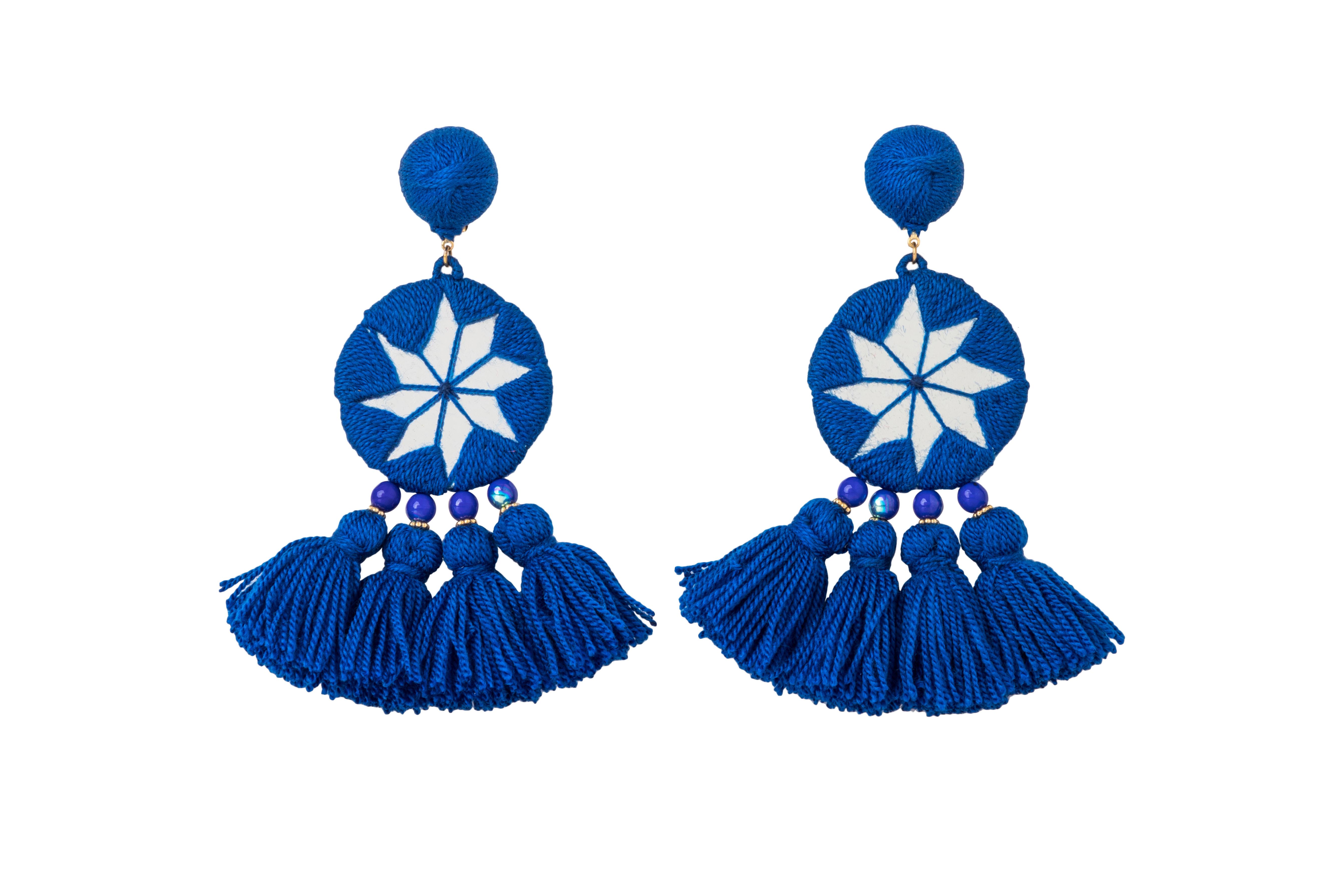 Aretes estrella de la India azul jean