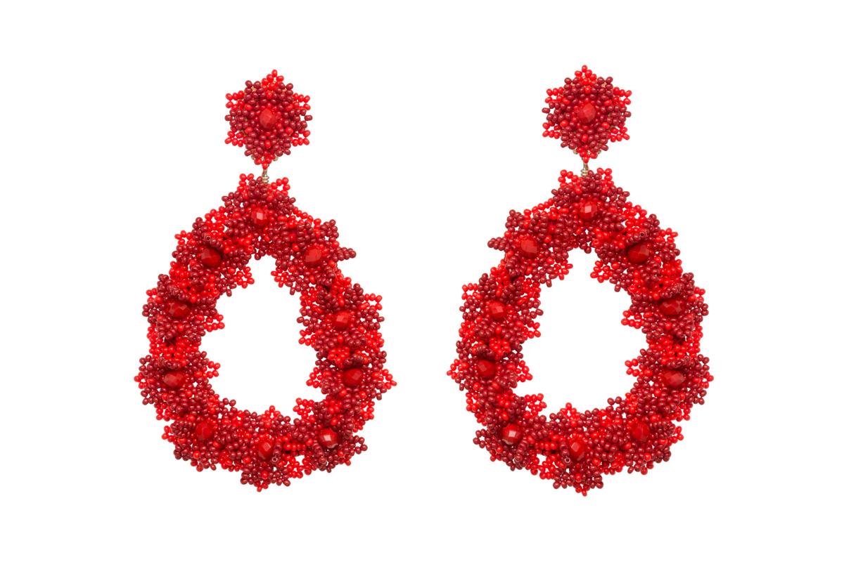 Aretes flores de chaquira rojo