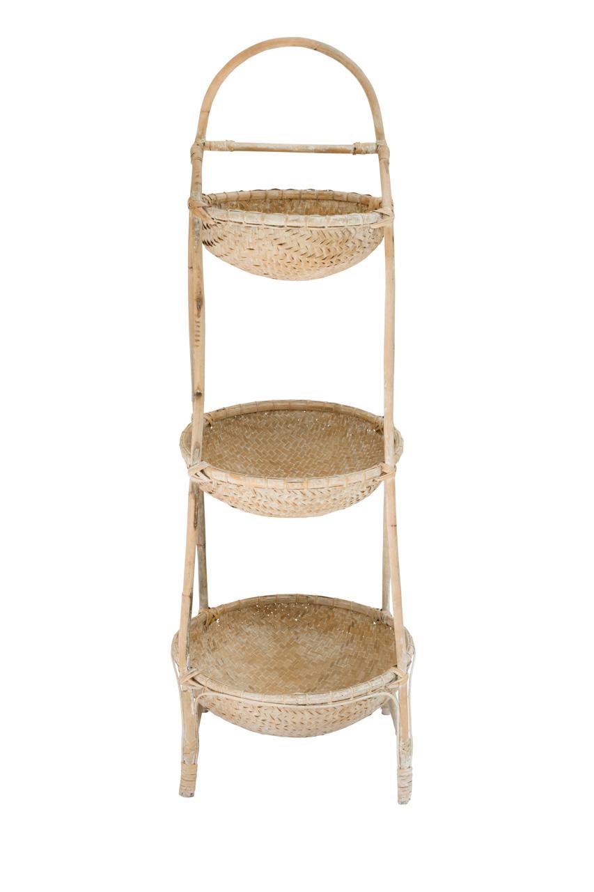 Porta canastos 3 niveles en bambu natural