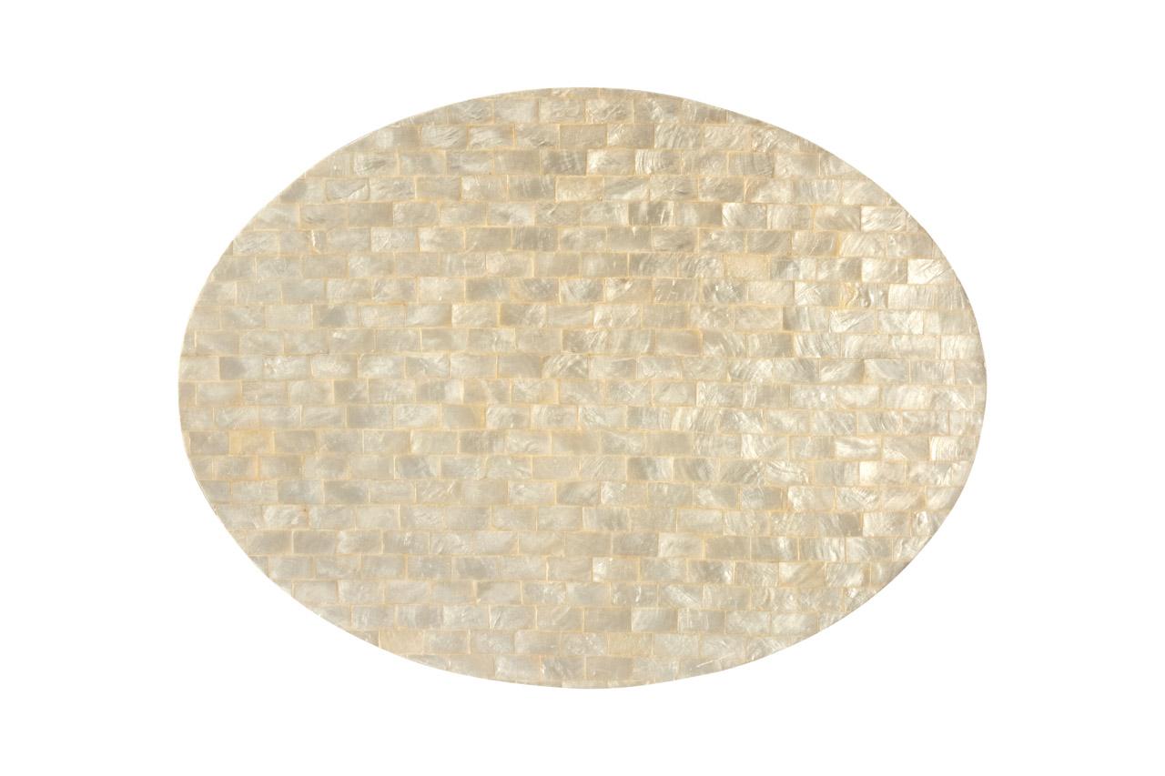 Individual nacar ovalado,blanco