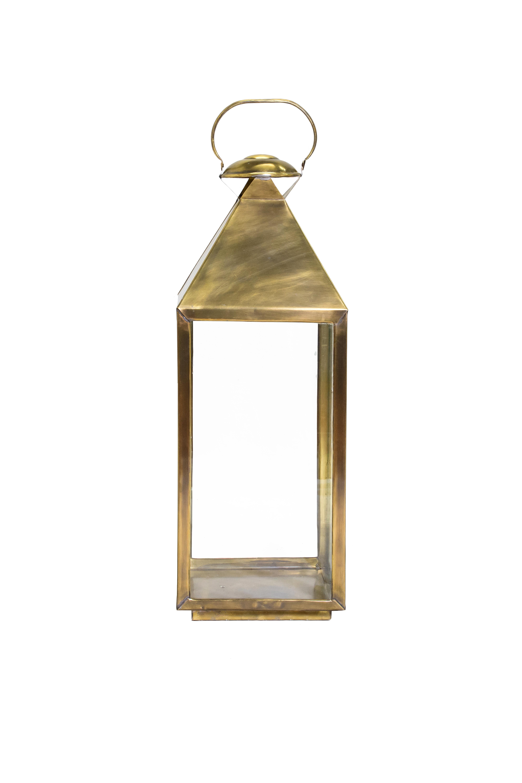 Farol de piso portavela en bronce 70 Cms H