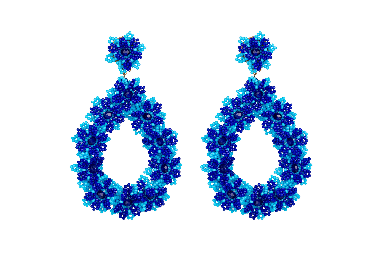 Aretes Flores De Chaquira Azul