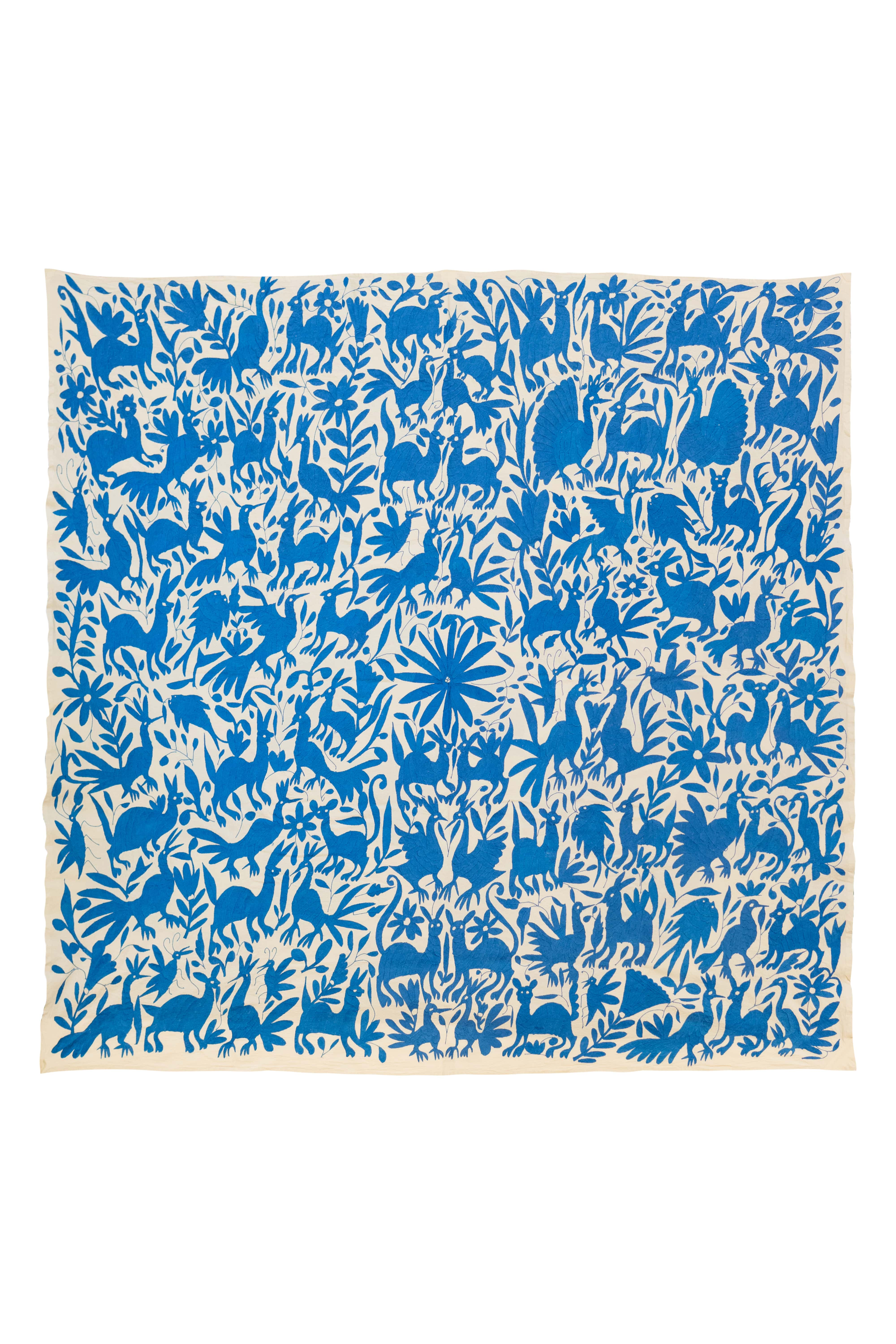 Blue Otomi Mexican Decorative Fabric