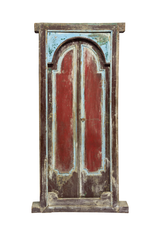Puerta De Madera Doble Indonesia Rojo Y Azúl