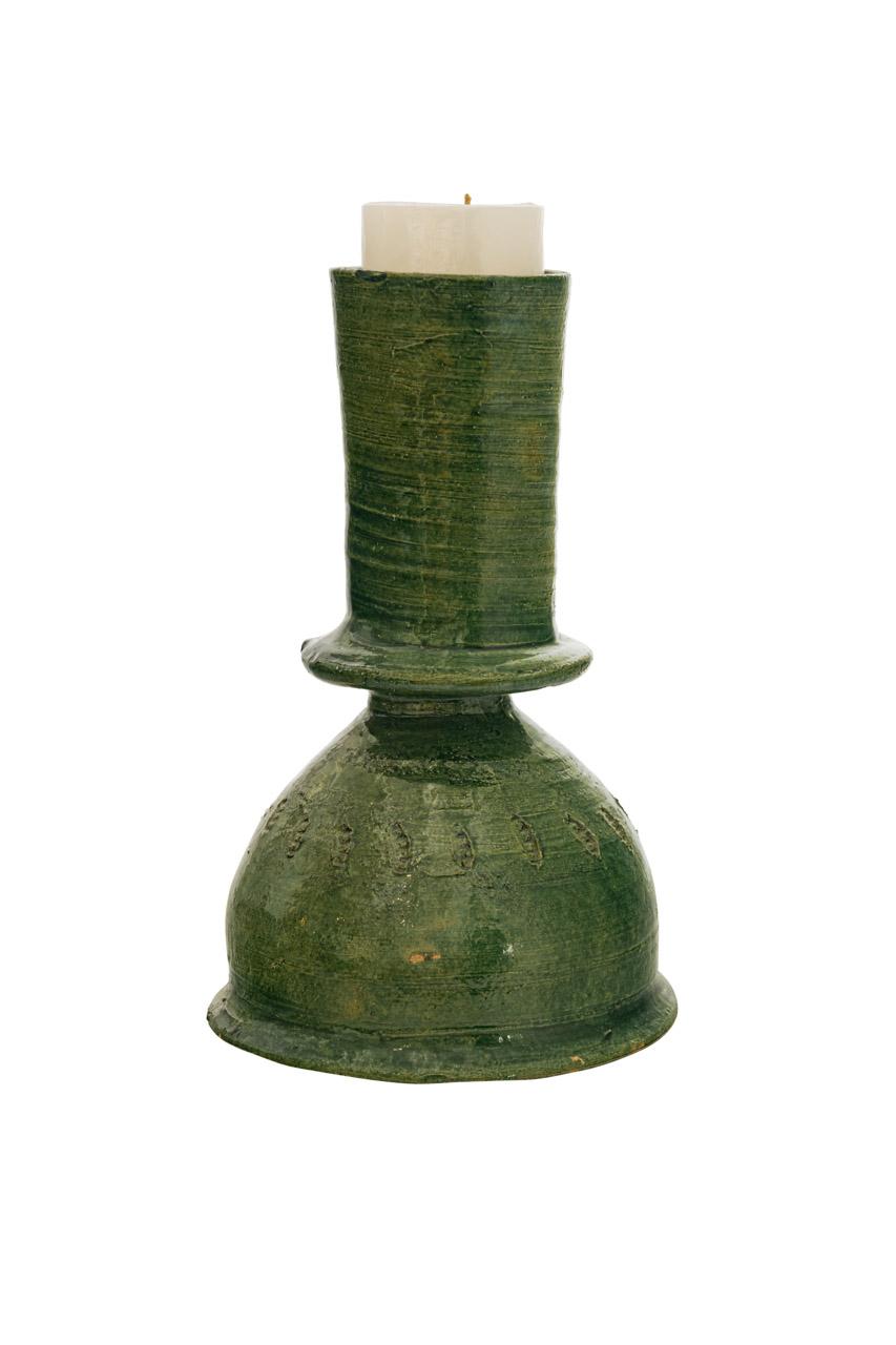 Candelabros  Mexicanos En Ceramica Verde