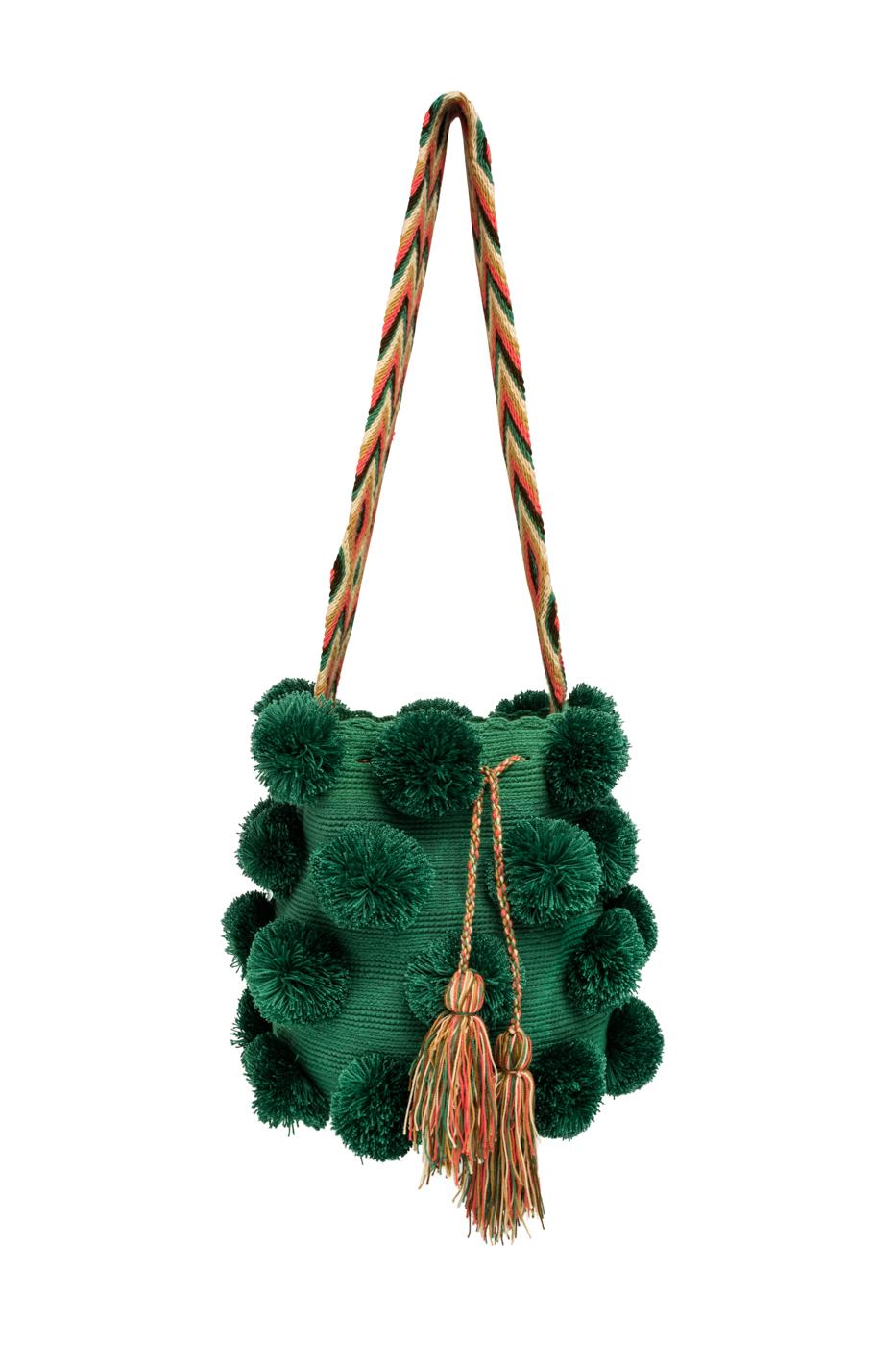 Mochila Wayúu Pompones Desflecados Verde