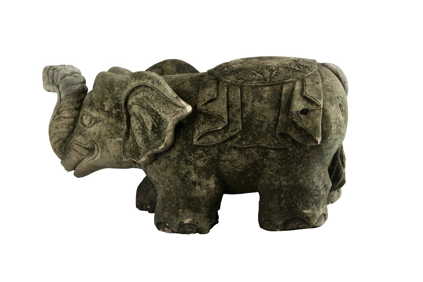 Green Carved Limestone Elephant