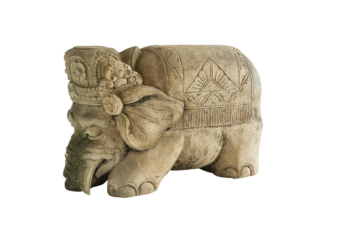 Brown Carved Limestone Elephant