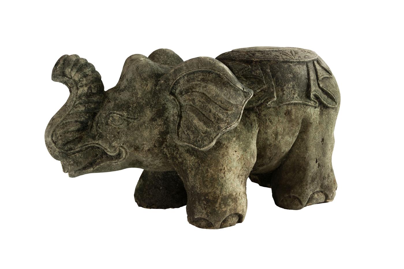 Elefante Tallado En Piedra Caliza Color Gris
