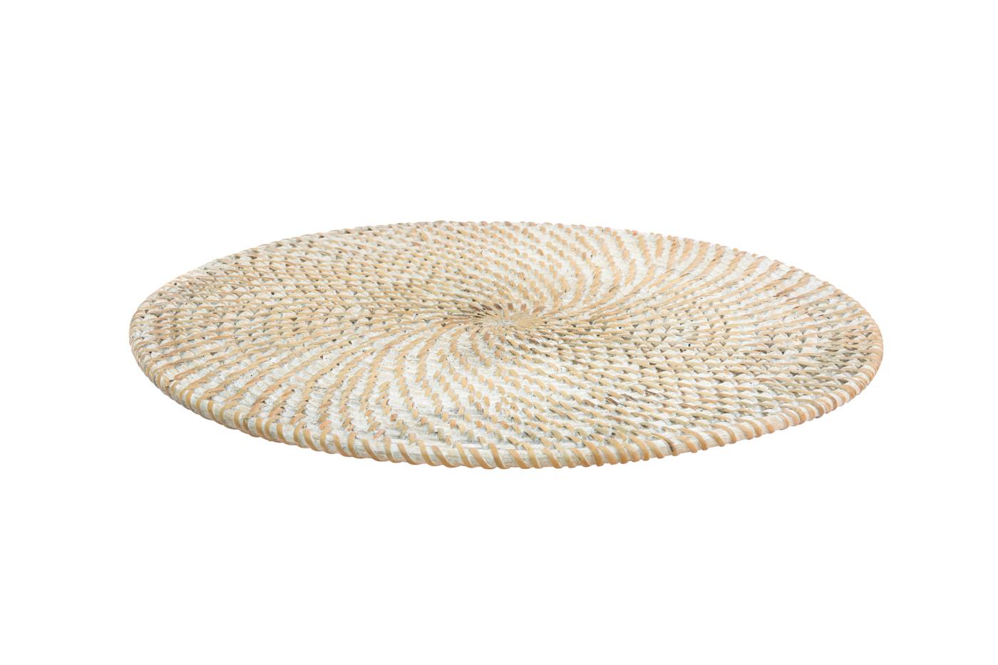 Whitewash round placemat