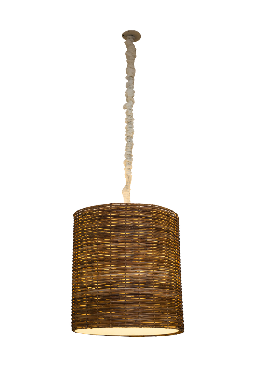 Cylindrical lamp in rattan