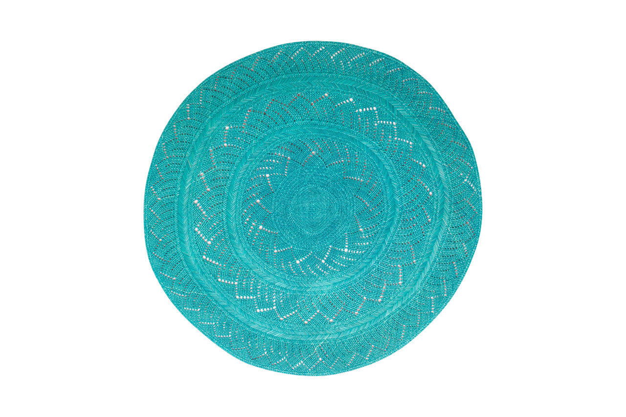 Iraca placemat set, turquoise
