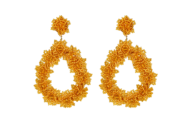 Golden Chaquira Flower Earring