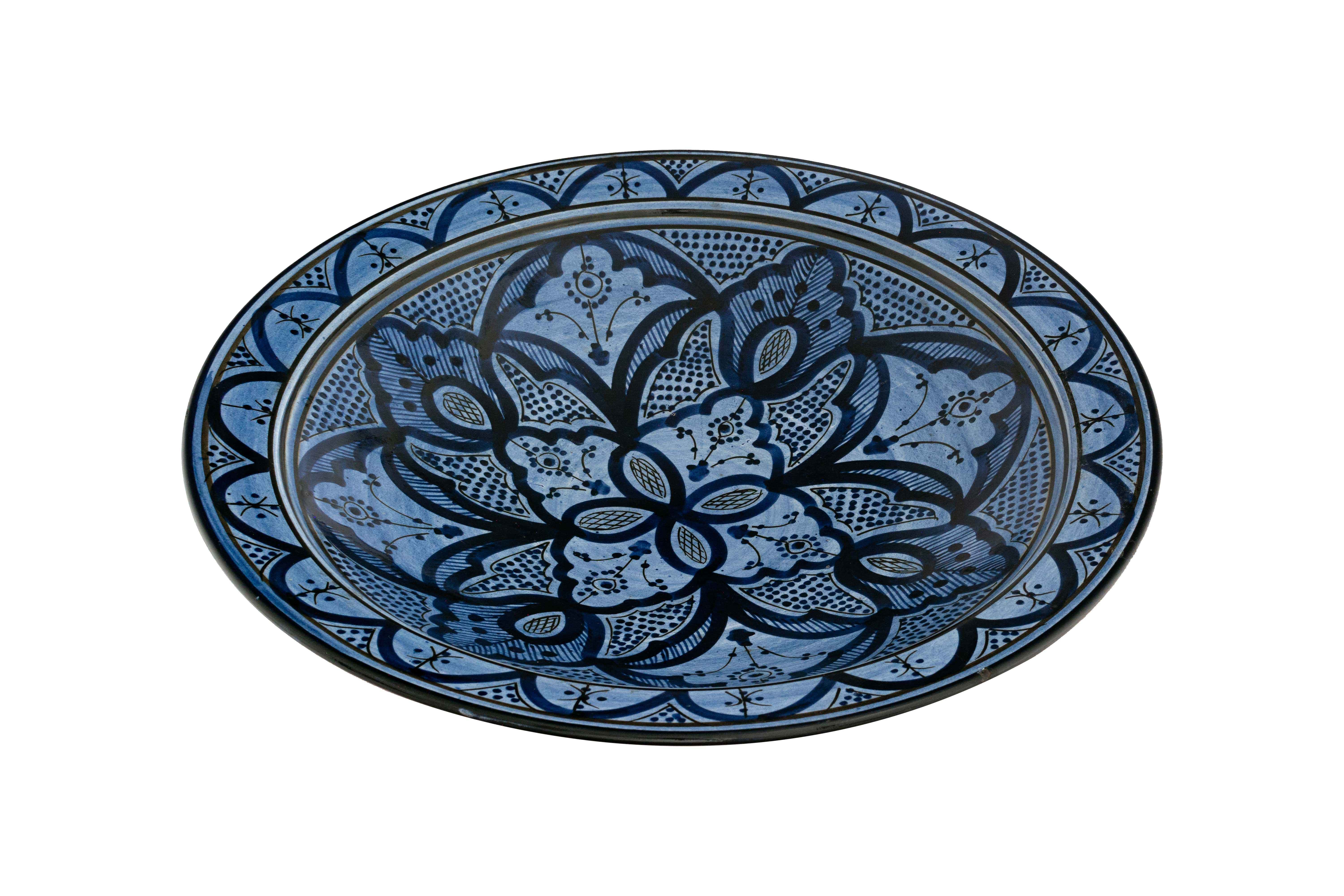 Moroccan plate painted blue