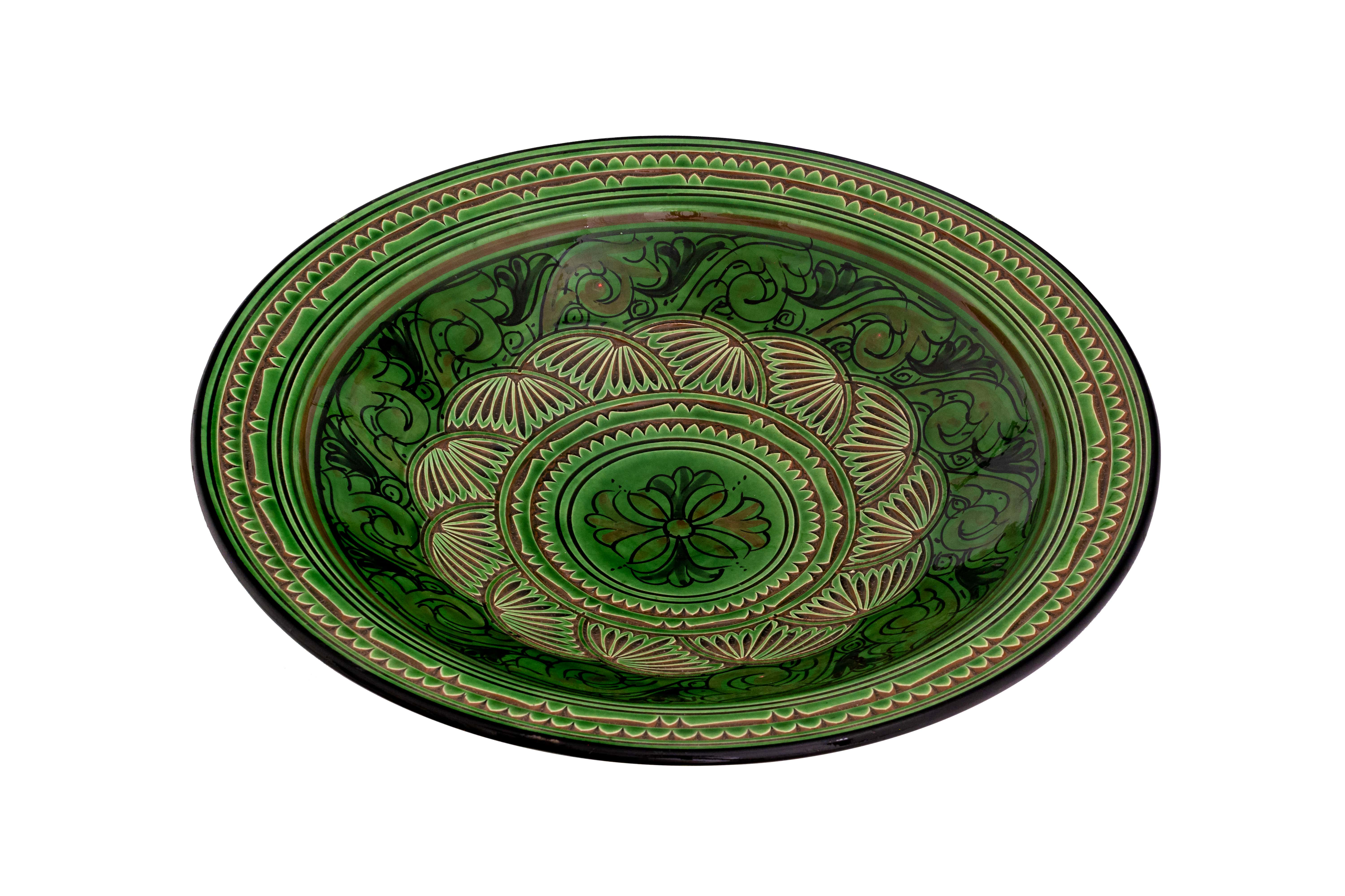 Moroccan green carved plate