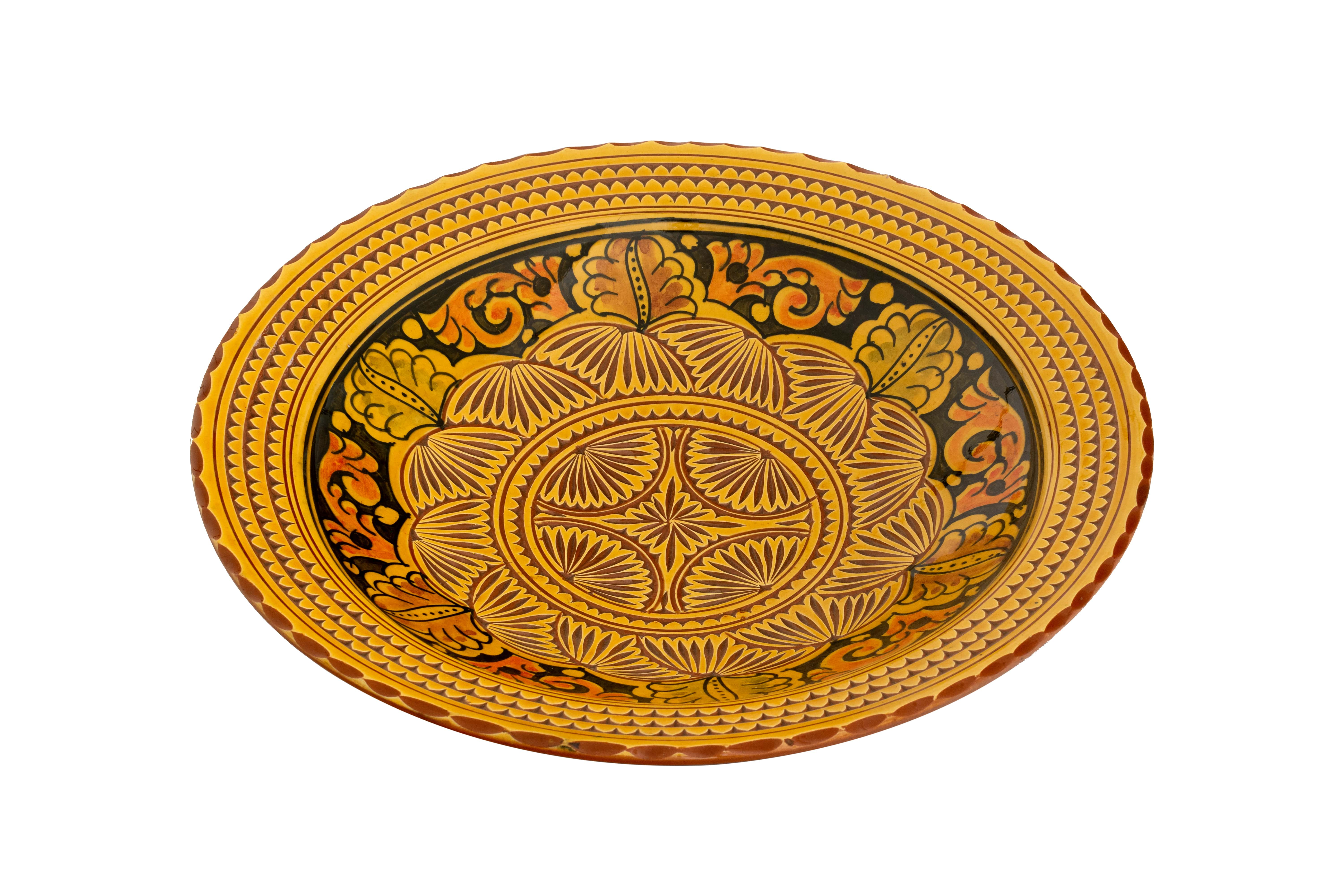 Moroccan plate carved yellow