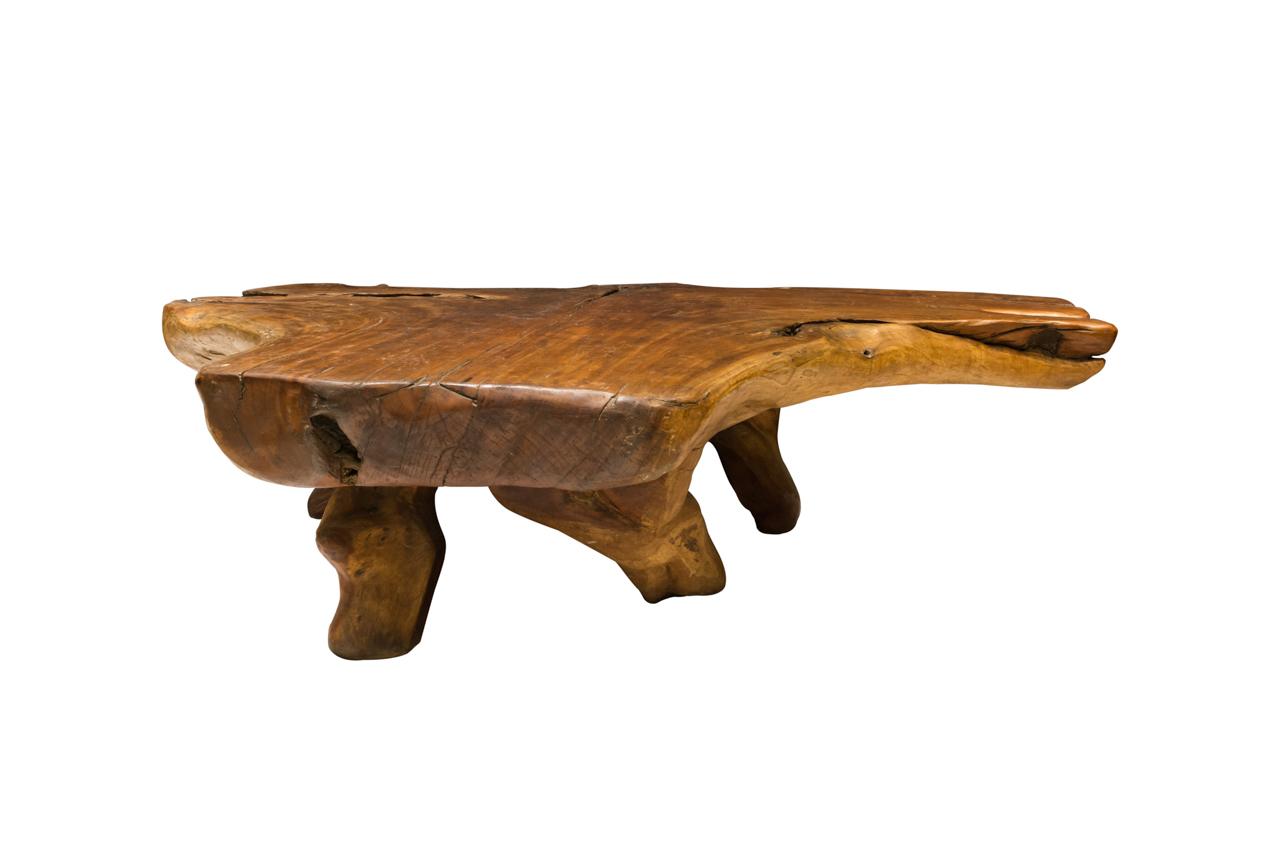 Irregular teak root coffee table