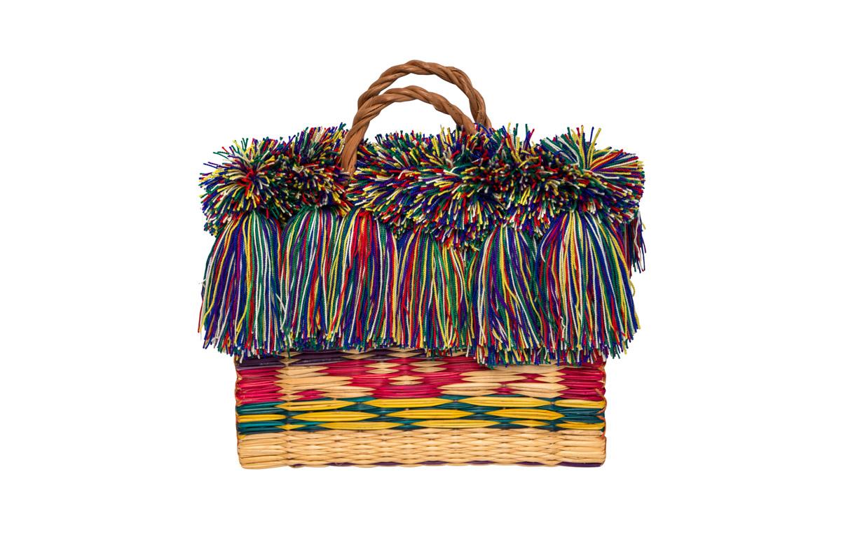 Cartera Fibra  Y Flecos Multicolor