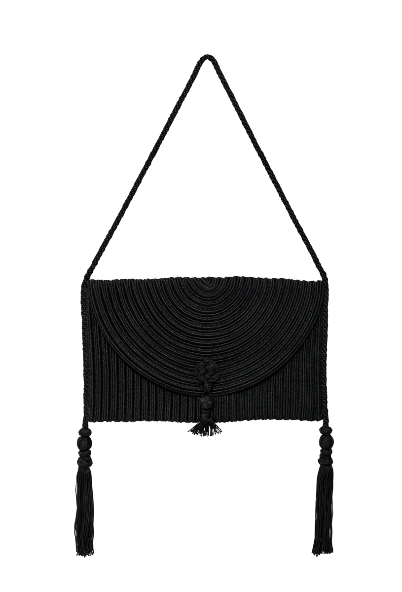 Bolso hilos de seda negro