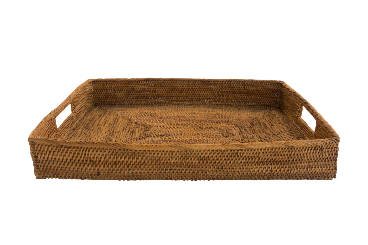 Rectangular rattan tray