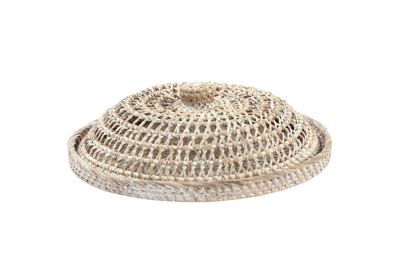Whitewash natural fiber breadbox