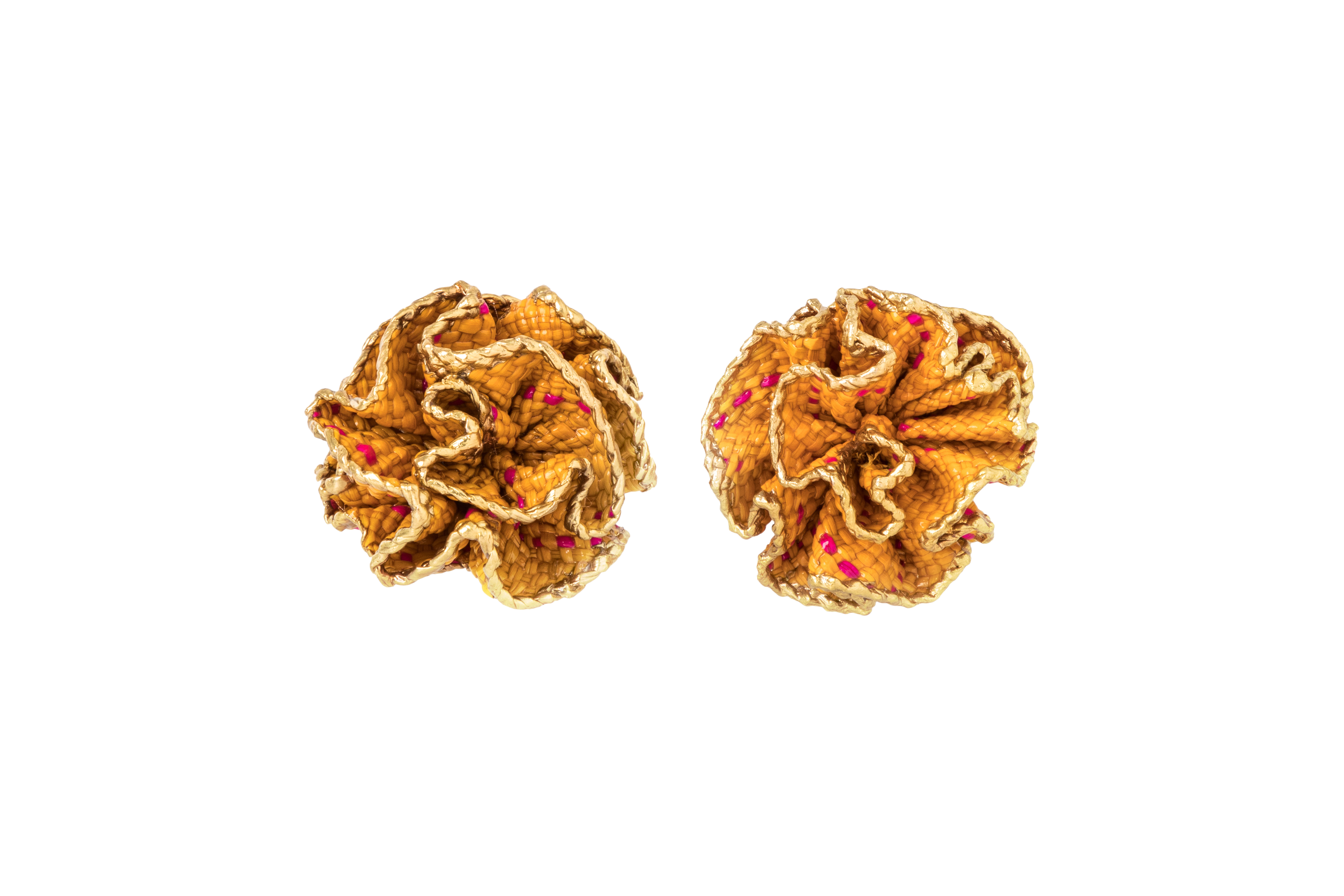 Arete Flor De Iraca Y Baño De Oro, Naranja