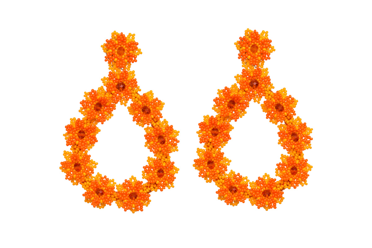Arete Flores De Chaquira Naranja