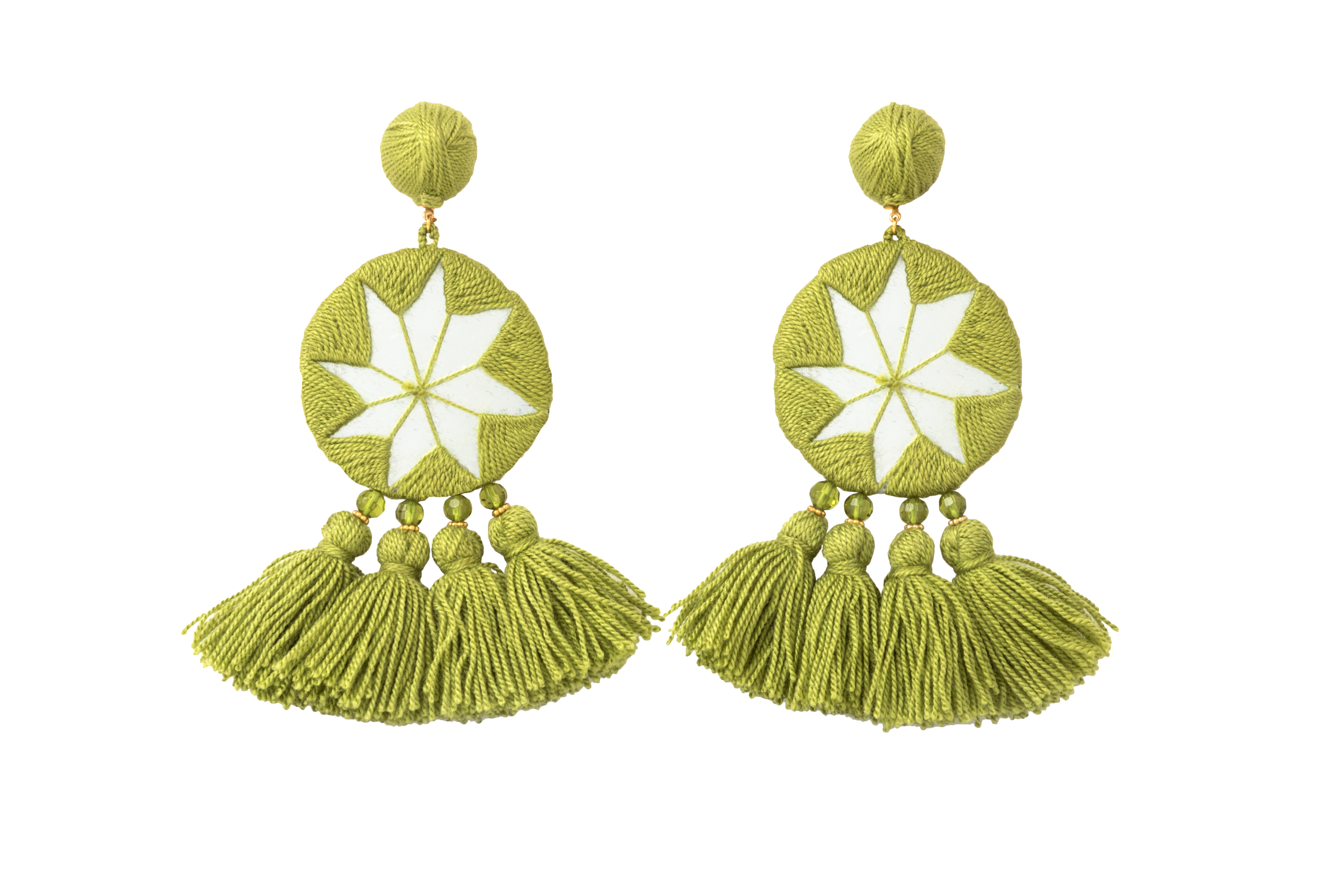 Olive Green Indian Star Earrings