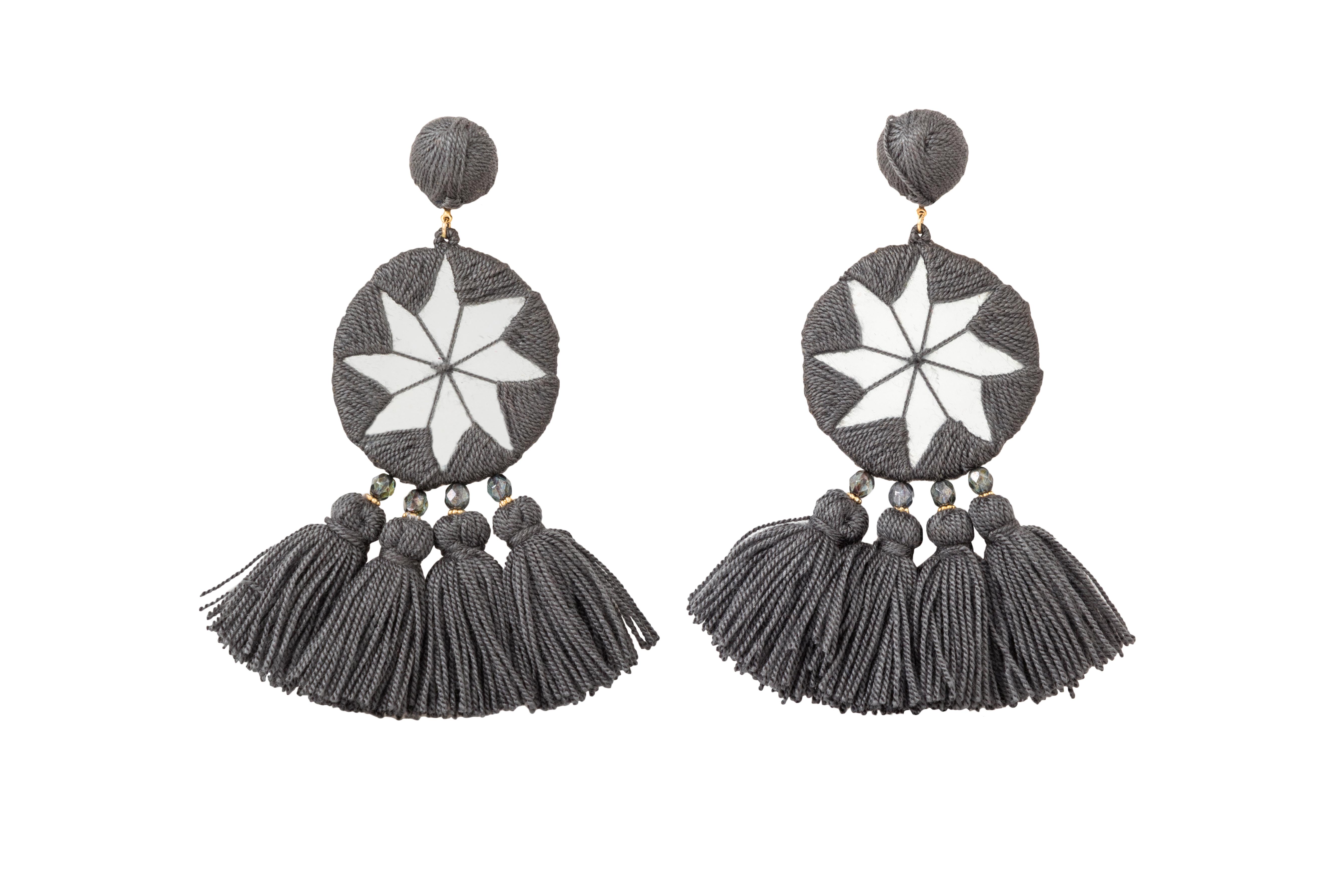 Indian Star's Earrings Dark Grey