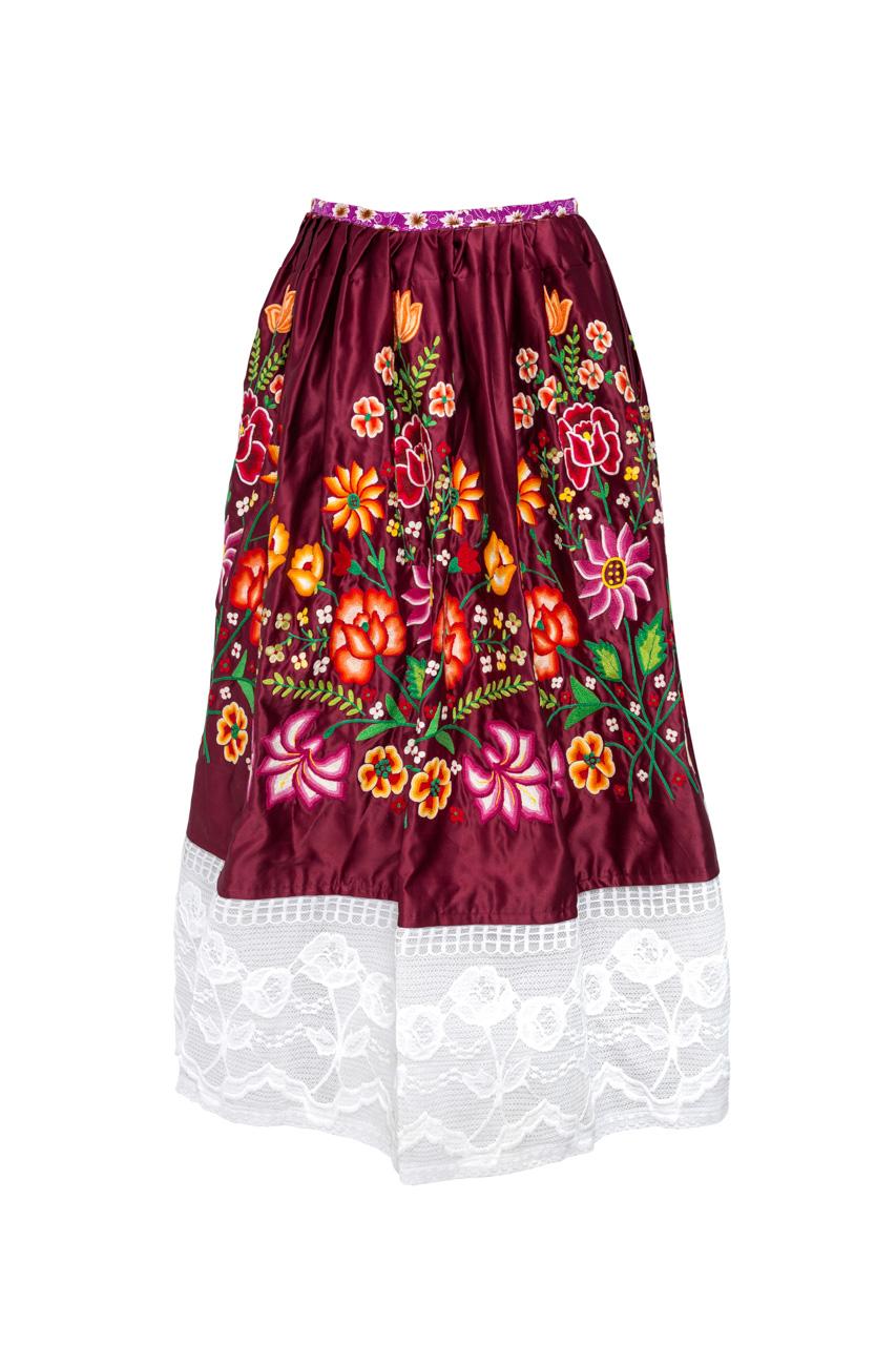 Falda Oaxaca Rojo oscuro