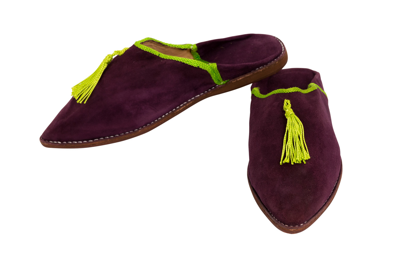 Moroccan Babouches Purple green fringe