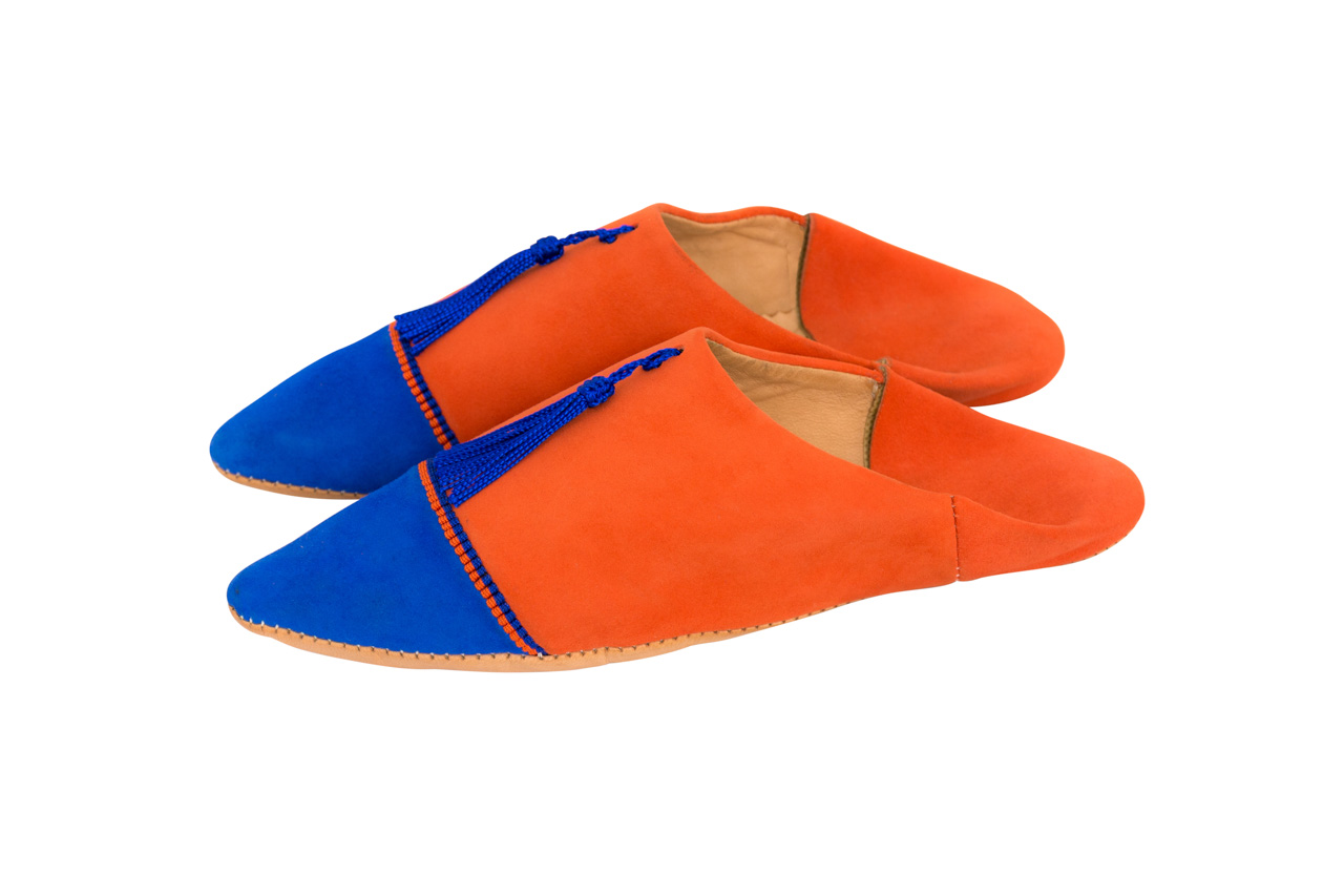Moroccan Babouches Orange-Blue King
