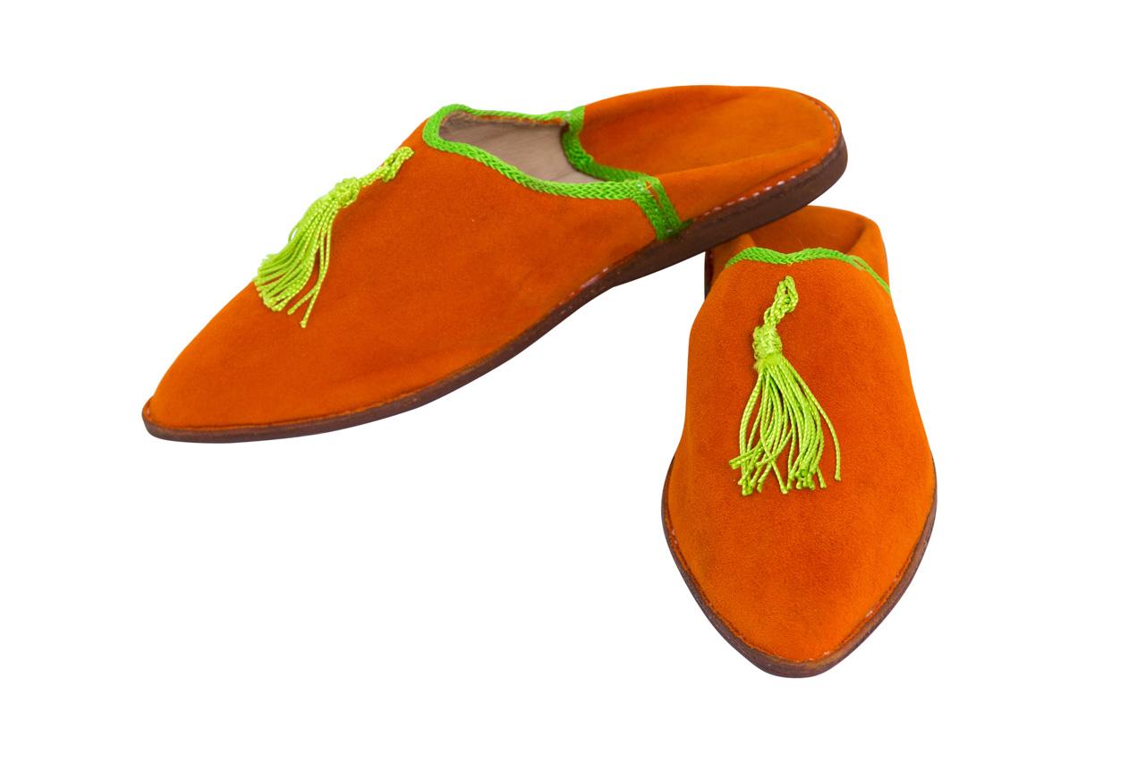 Babouches Marroquí Naranja fleco verde